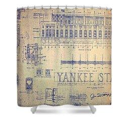 Vintage Yankee Stadium Blueprint Signed By Joe Dimaggio Shower Curtain