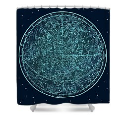 Vintage Zodiac Map - Teal Blue Shower Curtain