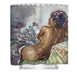 Nude In Violet Shower Curtain