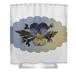 Viola Pressed Flower Arrangement Shower Curtain