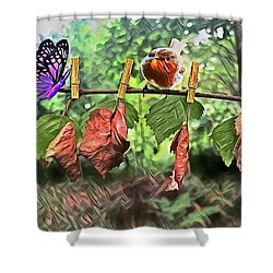 Violet And Robin Shower Curtain