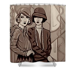 Violet And Rose In Sepia Tone Shower Curtain by Tara Hutton