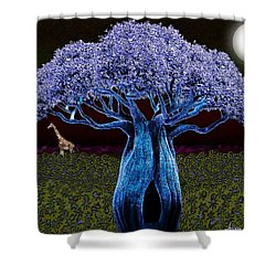 Violet Blue Baobab Shower Curtain by Iowan Stone-Flowers