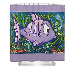 Violet Fish Shower Curtain by Rita Fetisov