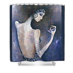 Shower Curtain featuring the painting Violet Inspiration by Maya Manolova