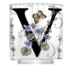 Violets And A Viceroy Butterfly Shower Curtain