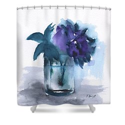 Violets In A Glass Abstract Shower Curtain by Frank Bright