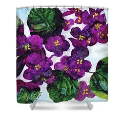 Violets Shower Curtain by Julie Maas