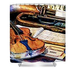 Violin And Bugle Shower Curtain by Susan Savad