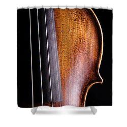 Violin Isolated On Black Shower Curtain