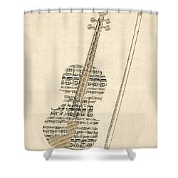 Violin Old Sheet Music Shower Curtain