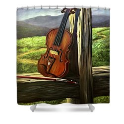 Shower Curtain featuring the painting Violin by Randol Burns
