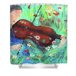Violinist In Garden Shower Curtain