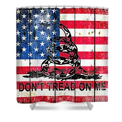 Viper On American Flag On Old Wood Planks Shower Curtain