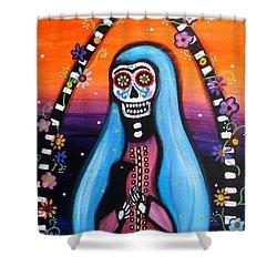 Virgen Guadalupe Muertos Shower Curtain by Pristine Cartera Turkus