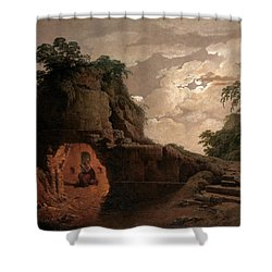 Shower Curtain featuring the painting Virgil's Tomb By Moonlight With Silius Italicus Declaiming by Joseph Wright of Derby