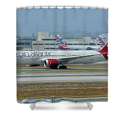 Virgin Atlantic Boeing 787-9 G-vzig Los Angeles International Airport May 3 2016 Shower Curtain by Brian Lockett