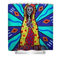 Virgin Guadalupe Day Of The Dead Shower Curtain