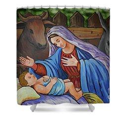 Virgin Mary And Baby Jesus Shower Curtain by Gaspar Avila