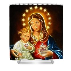 Virgin Mary And Baby Jesus Sacred Heart Shower Curtain by Pamela Johnson