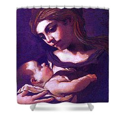 Shower Curtain featuring the painting Virgin Mary And Baby Jesus, The Greatest Gift by Jane Small