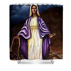 Virgin Mary- The Protector Shower Curtain by Carmen Cordova