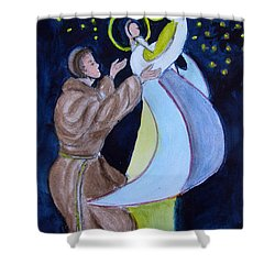 Virgin Mary With Jesus And St Anthony Shower Curtain