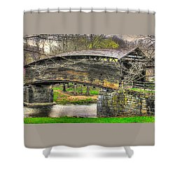 Virginia Country Roads - Humpback Covered Bridge Over Dunlap Creek #14a - Spring, Alleghany County Shower Curtain