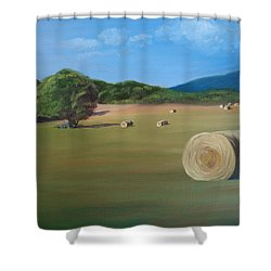 Shower Curtain featuring the painting Virginia Hay Bales by Donna Tuten