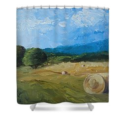 Virginia Hay Bales II Shower Curtain by Donna Tuten