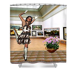 Virtual Exhibition - A Girl With A Pairro Dress Shower Curtain by Danail Tsonev