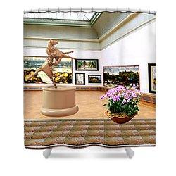 Virtual Exhibition - A Modern Horse Statue Shower Curtain by Pemaro