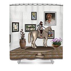 Shower Curtain featuring the mixed media Virtual Exhibition Horsewoman 13 by Pemaro