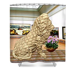 Virtual Exhibition - Statue Of A Lion Shower Curtain by Pemaro
