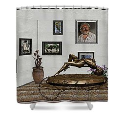 Shower Curtain featuring the mixed media Virtual Exhibition -statue Of Girl by Pemaro