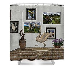 Shower Curtain featuring the mixed media virtual exhibition_Statue of swan 23 by Pemaro