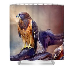 Vision Of The Hawk 2 Shower Curtain by Carol Cavalaris