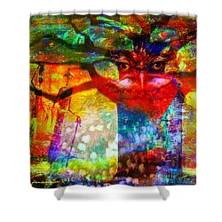 Shower Curtain featuring the mixed media Vision The Tree Of Life by Fania Simon