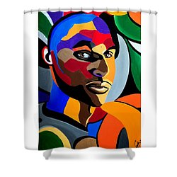 Visionaire - Male Abstract Portrait Painting - Abstract Art Print Shower Curtain