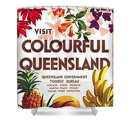 Visit Colorful Queensland - Vintage Poster Restored Shower Curtain