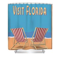 Shower Curtain featuring the digital art Visit Florida Saint Augustine Miami Beach Key West Fort Lauderdale by Edward Fielding