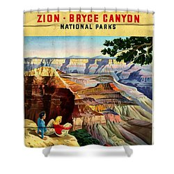 Visit Grand Canyon - Folded Shower Curtain