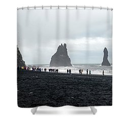 Shower Curtain featuring the photograph Visitors In Reynisfjara Black Sand Beach, Iceland by Dubi Roman