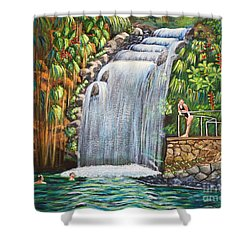 Visitors To The Falls Shower Curtain