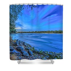 Vistula At Blue Hour Riverscape With Stones Shower Curtain