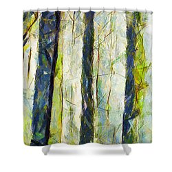 Shower Curtain featuring the painting Viviamo Nel Bosco by Sir Josef - Social Critic - ART