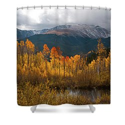 Shower Curtain featuring the photograph Vivid Autumn Aspen And Mountain Landscape by Cascade Colors
