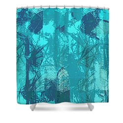 Vivid Blue Seafoam Nyc Water Towers  Shower Curtain