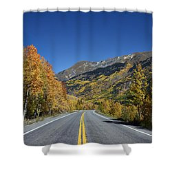 Vivid Fall Colors On The Million-dollar Highway In San Juan County In Colorado  Shower Curtain