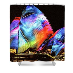 Shower Curtain featuring the photograph Vivid Festival, Sydney by Wallaroo Images